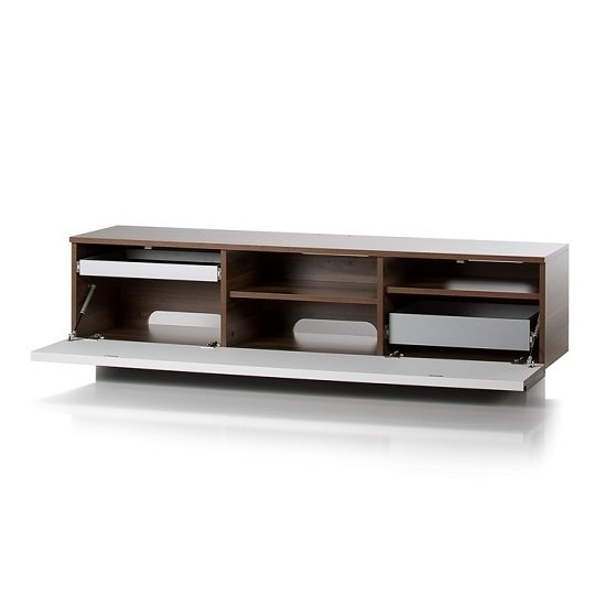 Michigan Wooden TV Stand In Walnut Grey With Flap Door_2