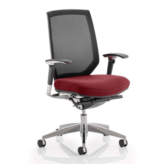 Midas Black Back Office Chair With Ginseng Chilli Seat