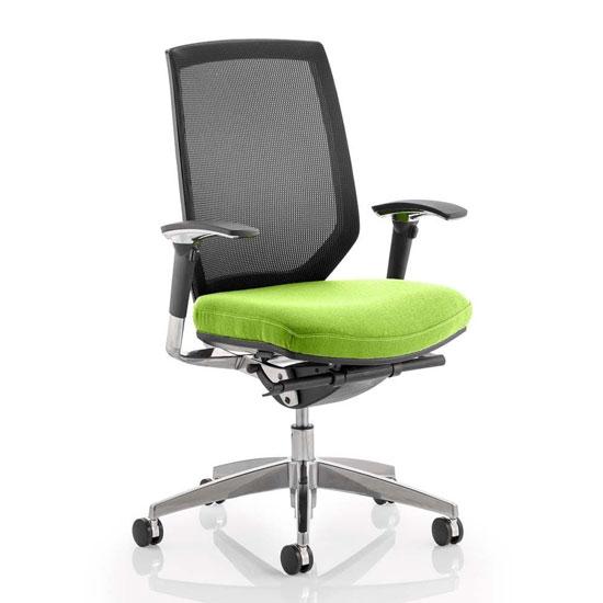 View Midas black back office chair with myrrh green seat