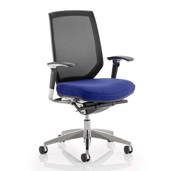 Midas Black Back Office Chair With Stevia Blue Seat