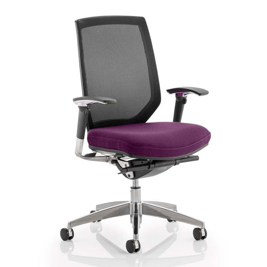 View Midas black back office chair with tansy purple seat