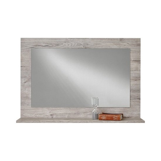 Midas Wooden Wall Mirror Rectangular In Sand Oak With Shelf