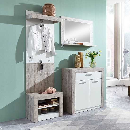 Midas Wall Mounted Hallway Stand In Sand Oak And White_3
