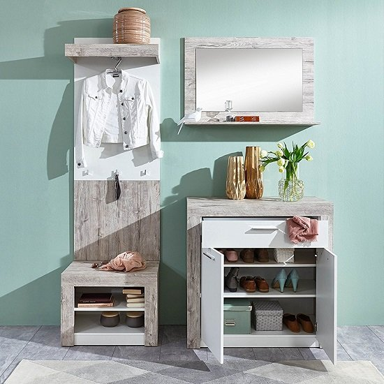 Midas Wall Mounted Hallway Stand In Sand Oak And White_4
