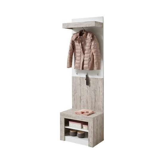 Midas Wall Mounted Hallway Stand In Sand Oak And White_1