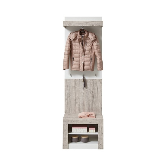 Midas Wall Mounted Hallway Stand In Sand Oak And White_2