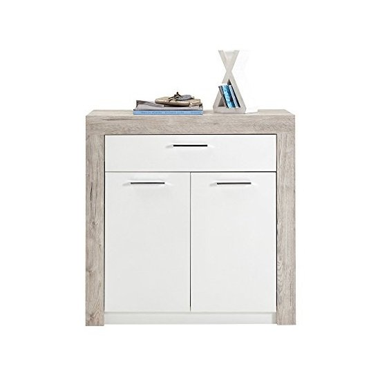 Midas Wooden Shoe Storage Cabinet In Sand Oak And White