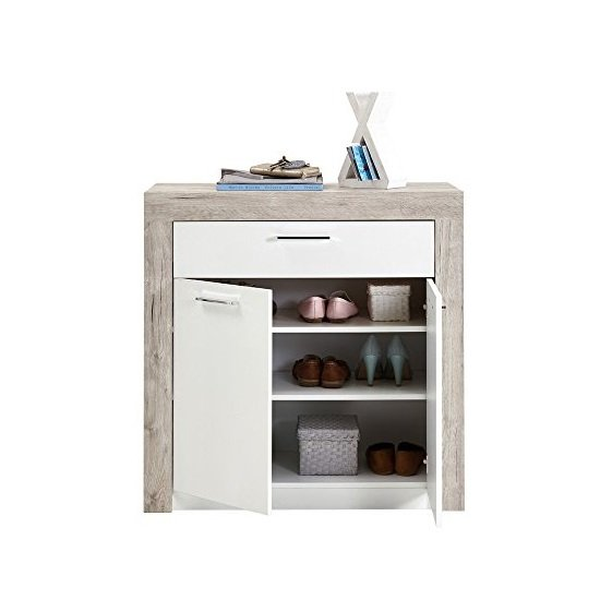 Midas Wooden Shoe Storage Cabinet In Sand Oak And White_2