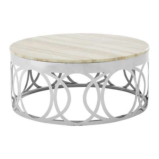 Midtown Marble Coffee Table In White With Stainless Steel Base