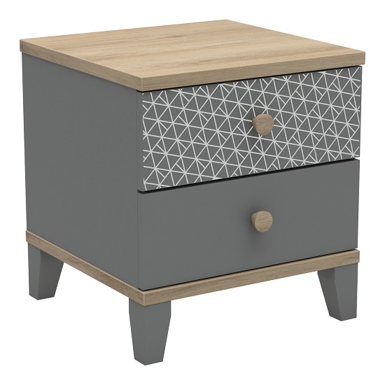 Mika Wooden Bedside Cabinet In Dark Grey Kronberg And Epur