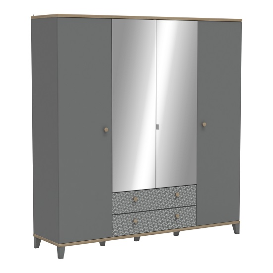Mika Mirrored Wardrobe In Dark Grey Kronberg And Epur