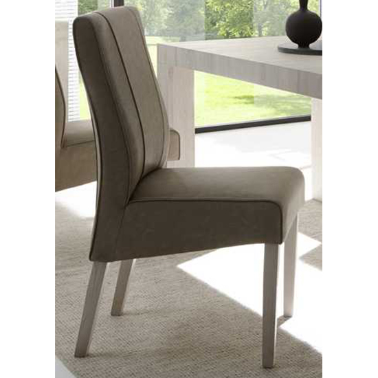 Miko Faux Leather Dining Chair In Beige