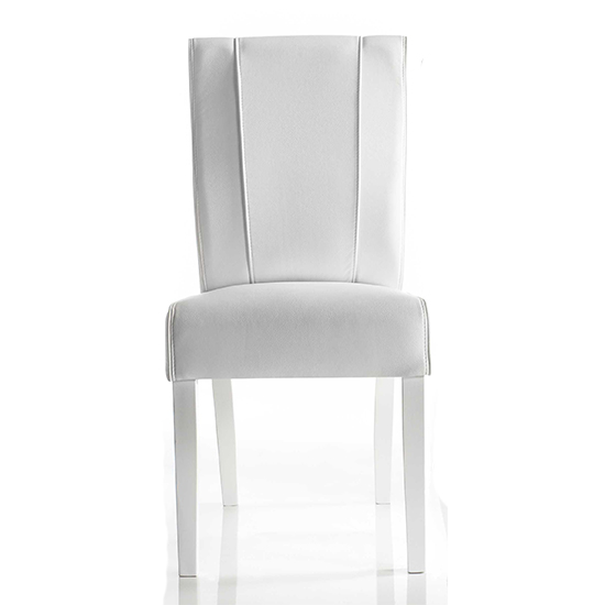 Miko Faux Leather Dining Chair In Matt White