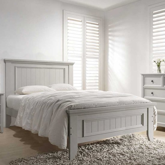 Mila Panelled Wooden Double Bed In Clay