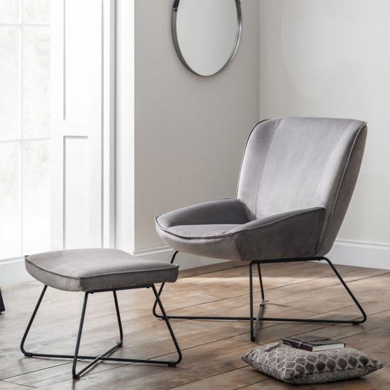 View Mila velvet bedroom chair with stool in grey
