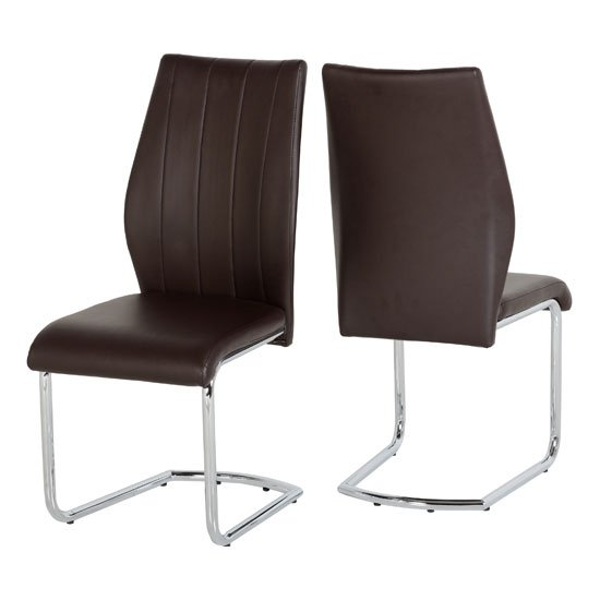 Milan Brown Faux Leather Dining Chairs In A Pair