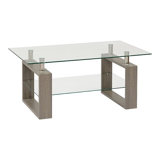 Milan Coffee Table In Light Charcoal With Clear Glass Top