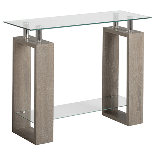 Milan Console Table In Light Charcoal With Clear Glass Top_1