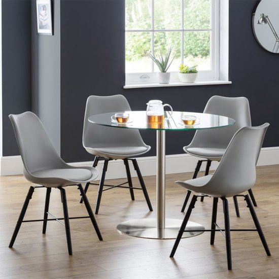 Milan Glass Dining Set With 4 Kari Grey Leather Chairs