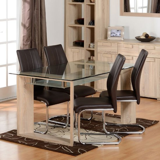 Milan Glass Dining Set With 4 Brown Faux Leather Dining Chairs