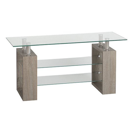 Milan TV Unit In Light Charcoal With Clear Glass Top