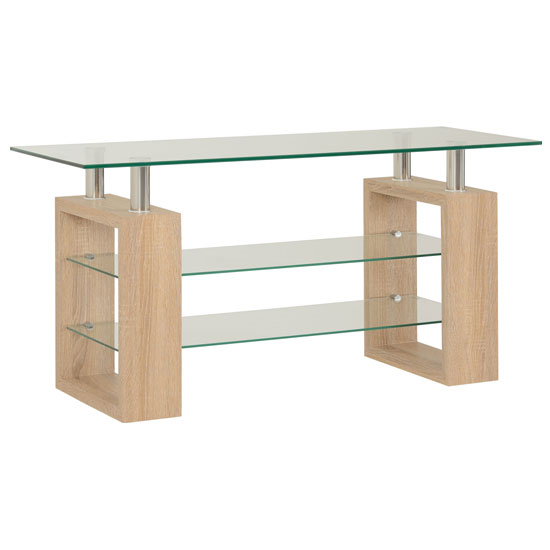 Milan TV Unit In Sonoma Oak With Clear Glass Top_2