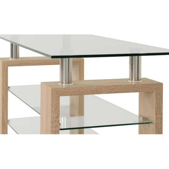Milan TV Unit In Sonoma Oak With Clear Glass Top_3
