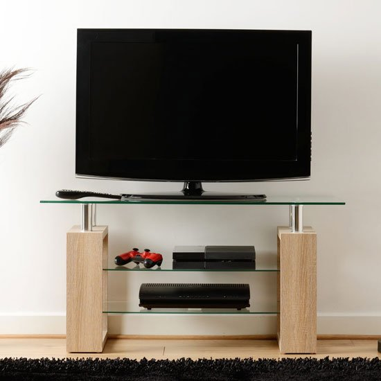Milan TV Unit In Sonoma Oak With Clear Glass Top