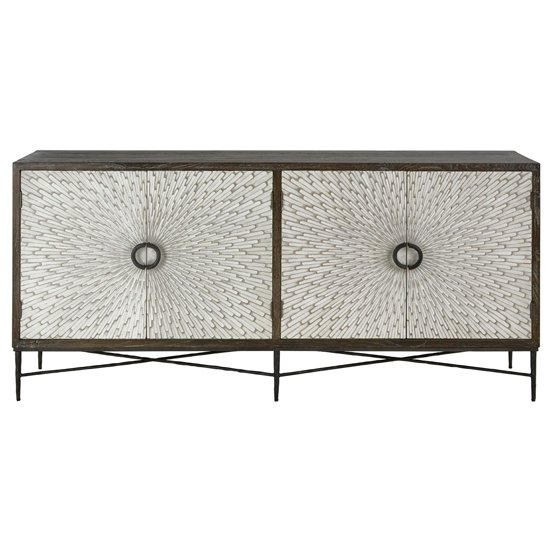 View Jabbah wooden sideboard in grey with 4 doors