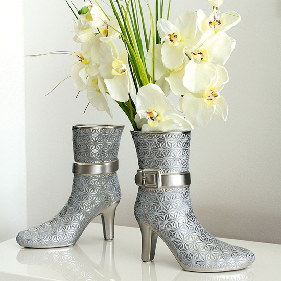 Milano Ceramic Set Of 2 Boots Vases In Silver