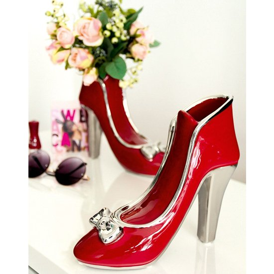 Milano Ceramic Set Of 2 High Heel Vases In Red And Silver