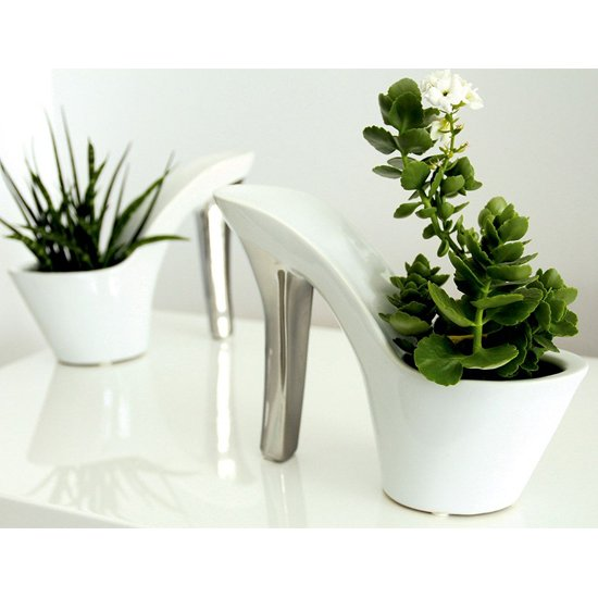 Milano Ceramic Set Of 2 Plateau Vases In White And Silver_1