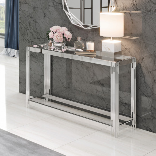 Milano Clear Glass Console Table With Silver Stainless Steel Leg