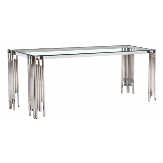 Milano Clear Glass Dining Table With Silver Stainless Steel Legs