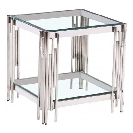 Milano Clear Glass Side Table With Silver Stainless Steel Legs_2