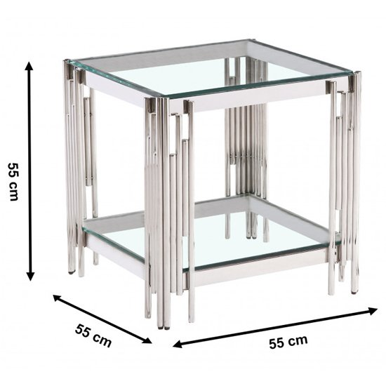 Milano Clear Glass Side Table With Silver Stainless Steel Legs_3