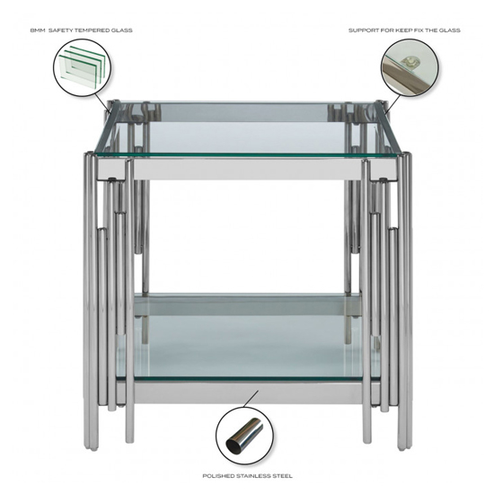 Milano Clear Glass Side Table With Silver Stainless Steel Legs_4