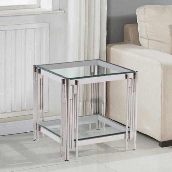 Milano Clear Glass Side Table With Silver Stainless Steel Legs