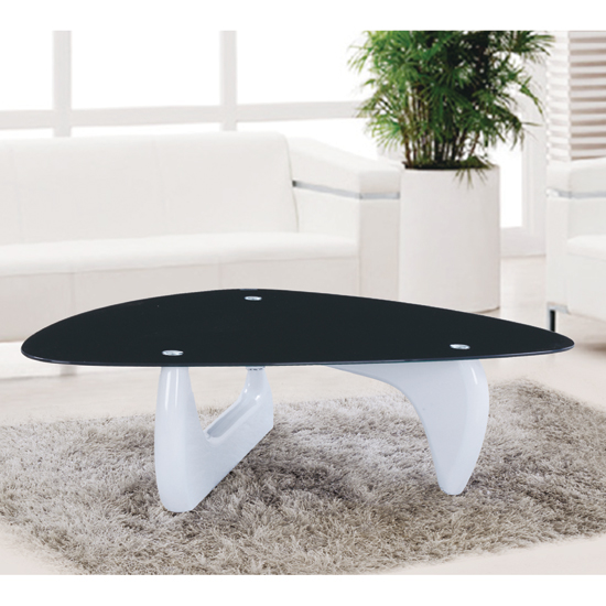Alpha Coffee Table In Black Glass With White Gloss Base