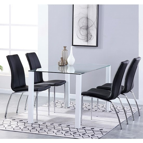 Milano Glass Dining Set With 4 Boston Black Leather Chairs
