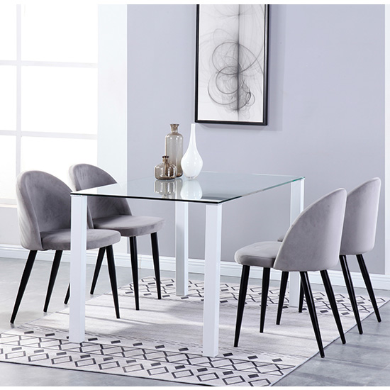 Milano Glass Dining Set With 4 Candy Grey Velvet Chairs
