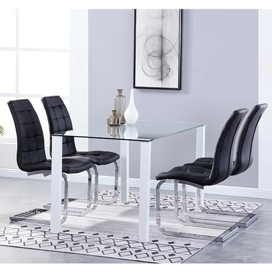 Milano Glass Dining Set With 4 New York Black Chairs