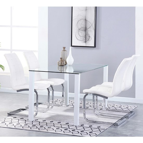 Milano Glass Dining Set With 4 New York White Chairs