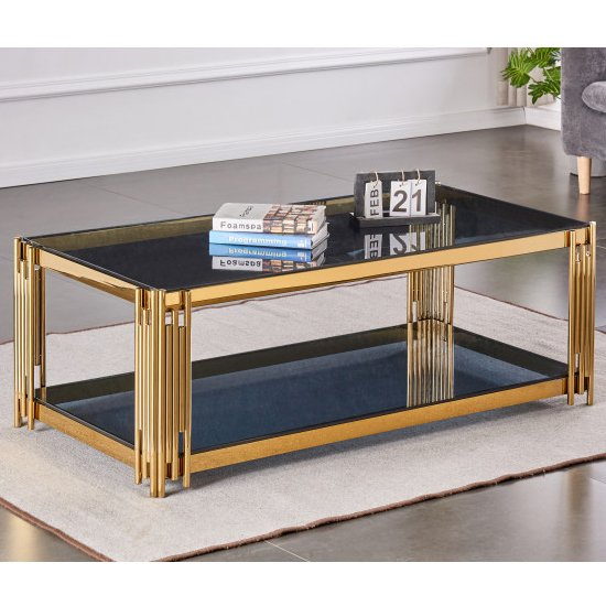 Milano Grey Glass Coffee Table With Gold Stainless Steel Legs