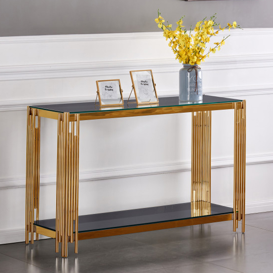Milano Grey Glass Console Table With Gold Stainless Steel Legs