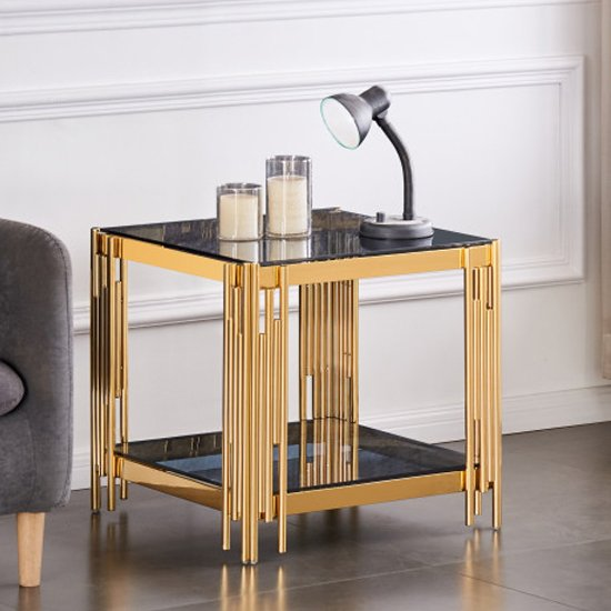 Milano Grey Glass Side Table With Gold Stainless Steel Legs
