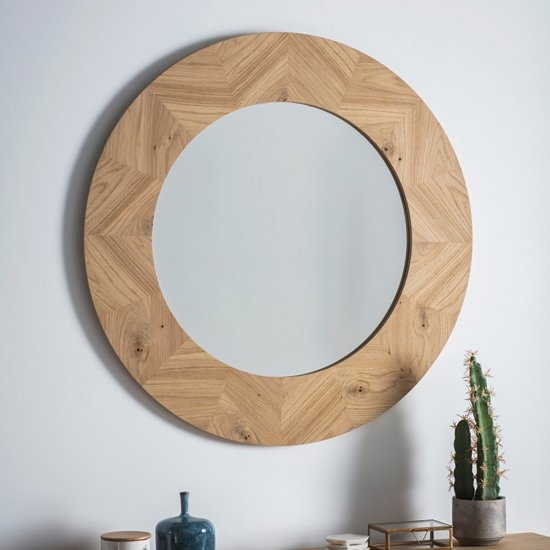 Milano Round Wooden Frame Wall Mirror In Mat Lacquer