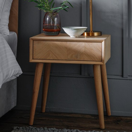 Milano Wooden Side Table In Mat Lacquer With 1 Drawer