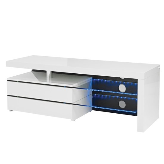 Milano Wooden TV Unit In High Gloss White