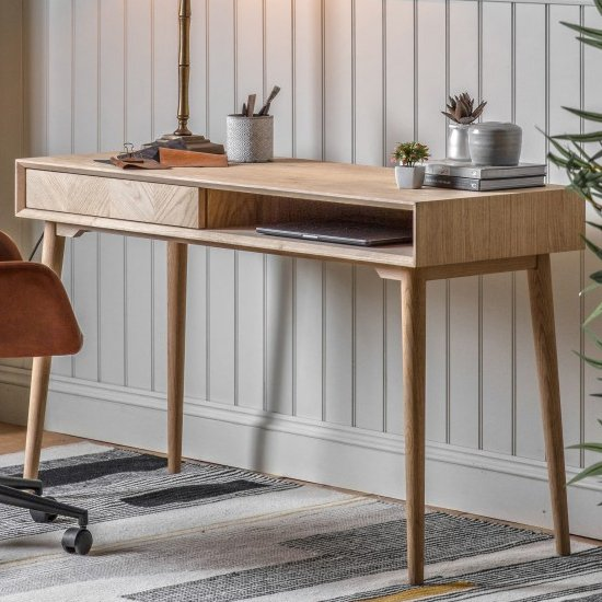 View Milano wooden 1 drawer laptop desk in natural